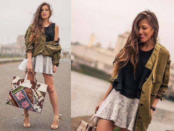 Sheinside Army Loose Coat, Zara Loose Crop Top, H&M Skater Sweat Skirt, Rock And Love Shop Maxi Patchwork Shopping Bag, Zara Heeled Sandals