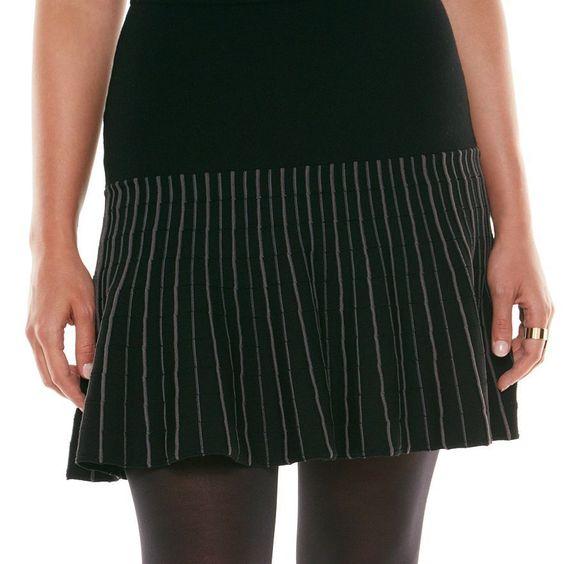New Elie Tahari for DesigNation Ribbed Flounce-Hem Skirt Black XS, S, M , L #ELIETAHARI #SKIRT