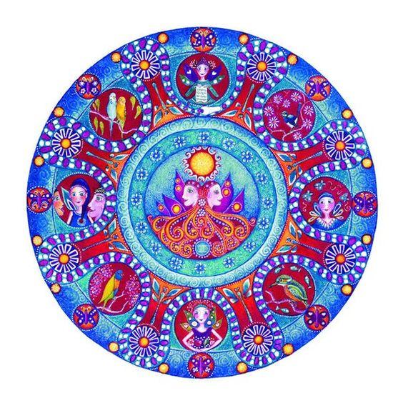 Gemini Astrologie Mandala Drucken Geburtstag Geschenk Sternzeichen Mandalas Zwilling Zwillinge Yoga Meditation Kunst