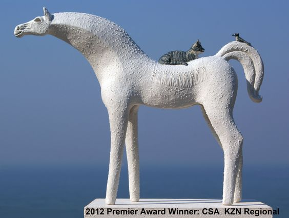 """""""White Mare with Sleeping Tabby""""  One of a group of 5 which received the Premier Award on the SA Ceramic KZN Regional Ceramic Exhibition 2012 at ArtSpace Gallery, Durban South Africa."""