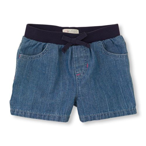 denim knit-waist shorts | US Store