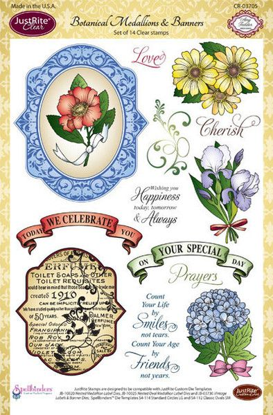 "JustRite Papercraft Botanical Medallions & Banners - 6"" x 8'' set designed by Amy Tedder"