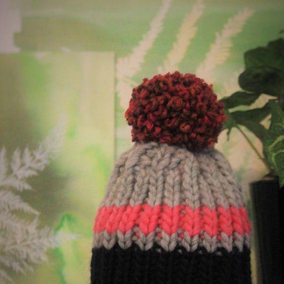 Ribbed Pompom Hat  Check it out @  www.etsy.co./uk/shop/WornStuff  #lowsumerism #recycling #upcycle #zerowastefashion #crafts #handmade #noexplotation #climatechange #yarn #usedyarn #stuff #wool #woolenhat #londoncraft #craftscouncil #etsy #depop #ebay #loveknitting @loveknittingcom