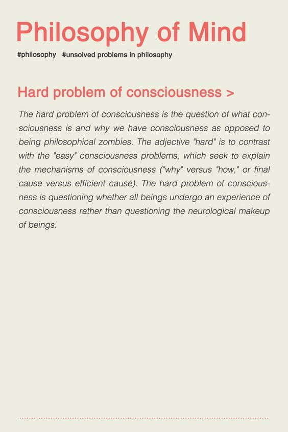 Philosophy Of Mind Hard Problem Of Consciousness Philosophy Of Mind Philosophy Philosophy Theories