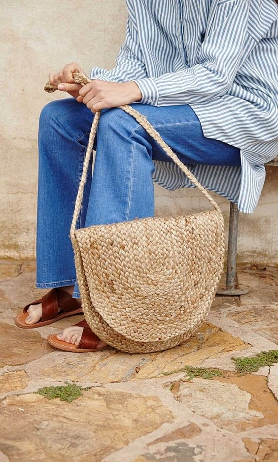 denim, stripes and a straw bag Clothing, Shoes & Jewelry : Women : handbags and purses for women http://amzn.to/2j9CmhZ: