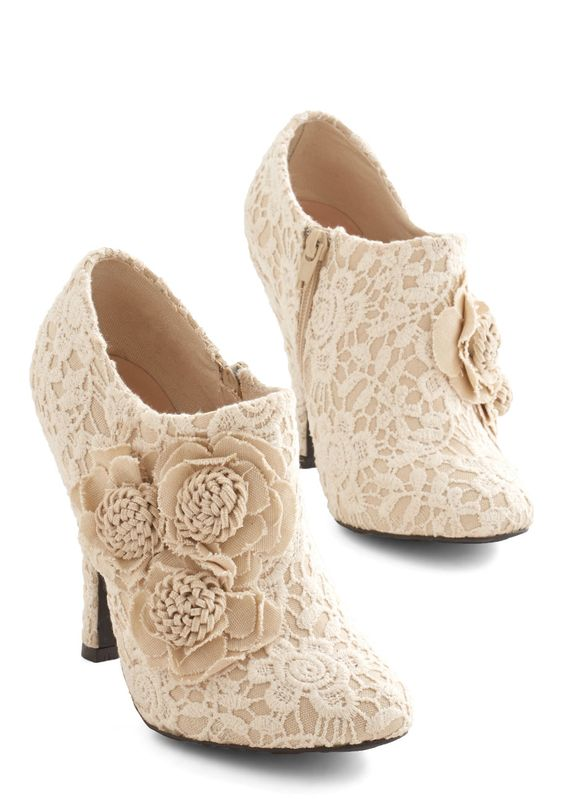 A Lovely Change of Lace Bootie - High, Woven, Lace, Tan, Solid, Crochet, Flower, Lace, Special Occasion, Wedding, Party, Holiday Party, Bridesmaid, Bride, Better, Tan / Cream