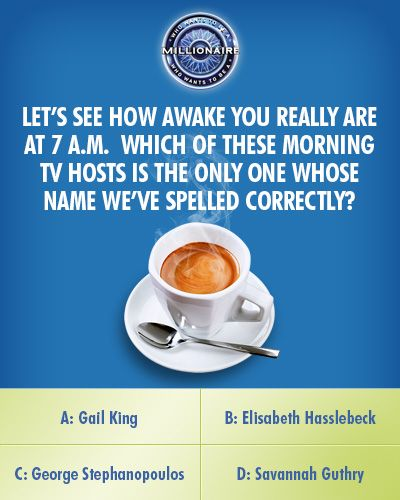 """Today, this question puts a """"spell"""" on Nicholas Weston-Swan when he returns for a second day on an all-new #MillionaireTV. But which morning show host spelling is the correct #FinalAnswer? Do you know? Don't miss Thursday's show with host Terry Crews and find out. Go to www.millionairetv.com for local time and channel to watch!"""