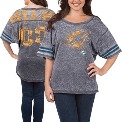 Women's Miami Dolphins 5th & Ocean Gray Burnout Oversized T-Shirt ...