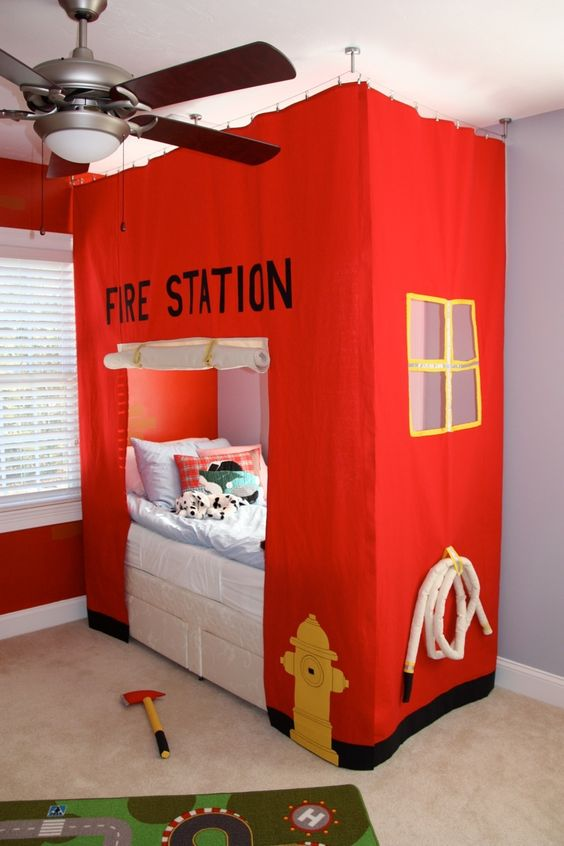 Fire station bed sewed for my son. (Inspired by utahcountymom.com Fire Station Card Table Tent)
