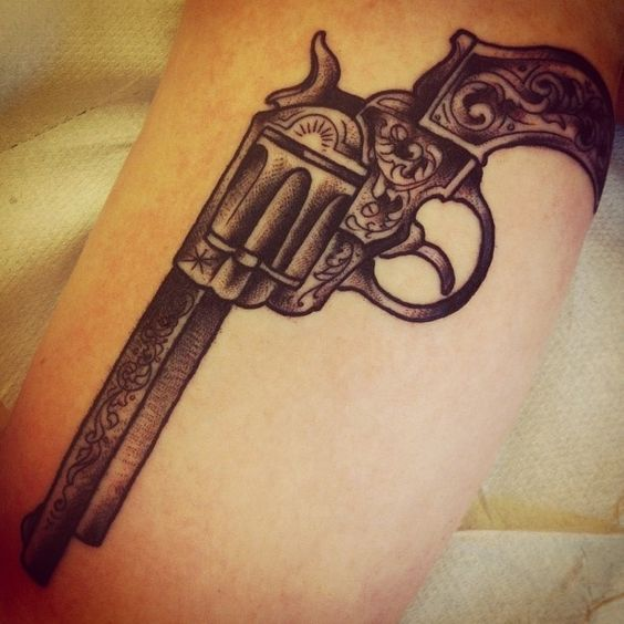 23 Trendy Hip Tattoos That Are Actually Badass: Gun Tattoo #gun #tattoo #guntattoo One For Mama