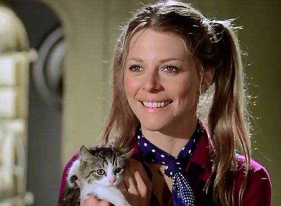 "Jaime Sommers (Lindsay Wagner) finds a friend in a co-worker named Bob who is caring for a mama cat named Myrtle and her kittens in The Bionic Woman episode ""Iron Ships and Dead Men"" (1977)."
