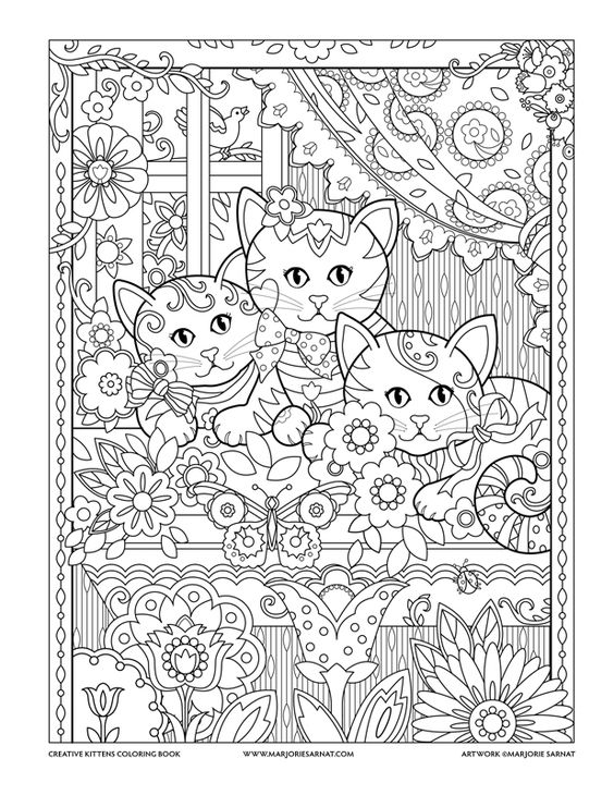 window box creative kittens coloring book by marjorie sarnat zentangles adult colouring. Black Bedroom Furniture Sets. Home Design Ideas