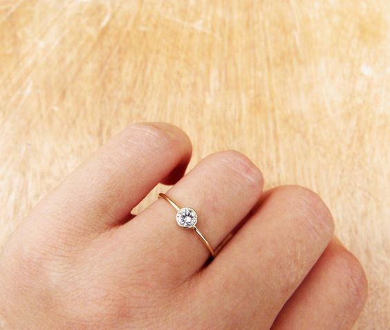 Diamond Engagement Ring - Simple Engagement Ring - 18k Solid Gold. $480.00, via Etsy.