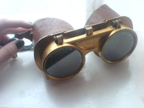 Welding goggles mod at Cut & Keep; I like that this one uses leather--much more Age of Steam than elastic