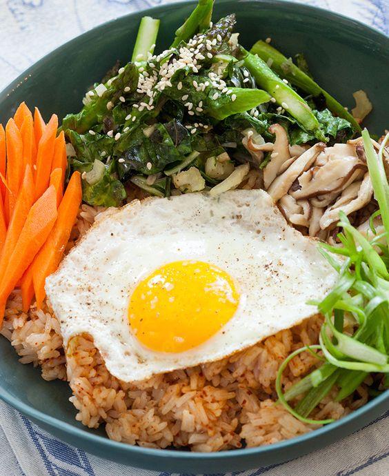 ... fried eggs vegetables asparagus mushrooms white rice eggs rice recipe