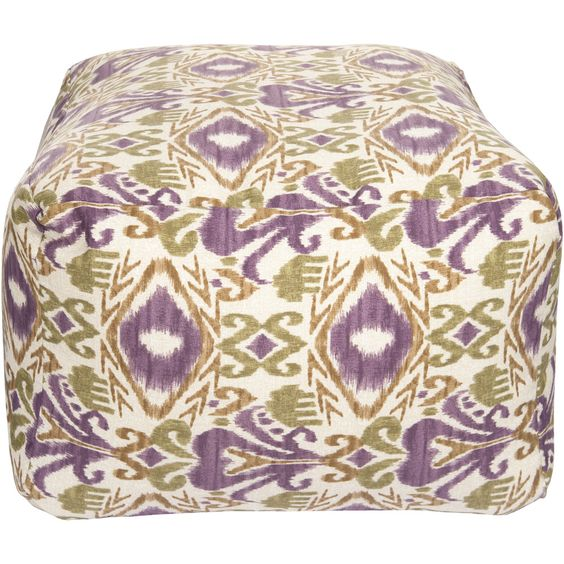 Square Outdoor Avocado Ikat Pouf by Surya at ProjectDecor.com