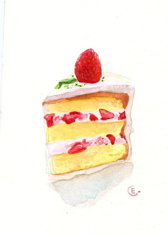 Watercolor Cake Clip Art : Cake 2 - Original Watercolor Painting 8x6 inches ...