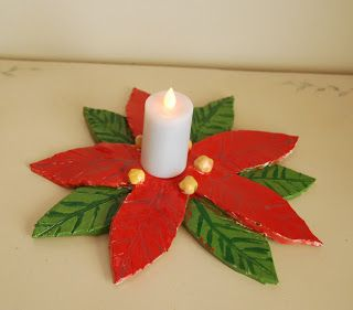 Clay Poinsettia Candle Holder