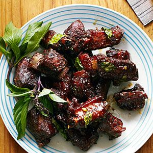 Chinese Glazed Riblets with Garlic and Thai Basil Recipe - made this for dinner tonight and it's out of this world!!! Worth the time and effort that goes into it.