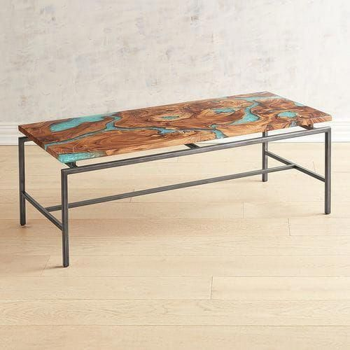 Moraine Wood Teal Resin Coffee Table Pier 1 Imports Coffee