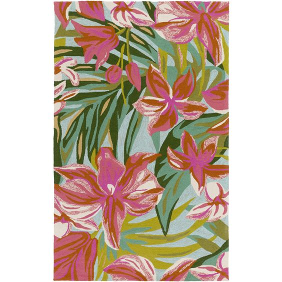 Skye Outdoor Rug in Bright Pink & Dark Green design by Surya ($68) ❤ liked on Polyvore featuring home, rugs, dark green rug, forest green rugs, hunter green rug, outside rugs and surya rugs