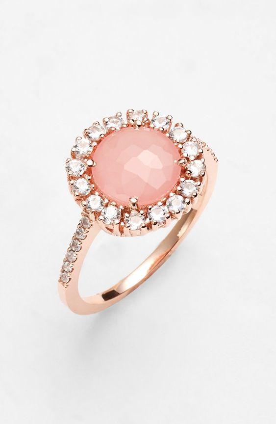 Pretty Roes Gold Rose Quartz Halo Ring