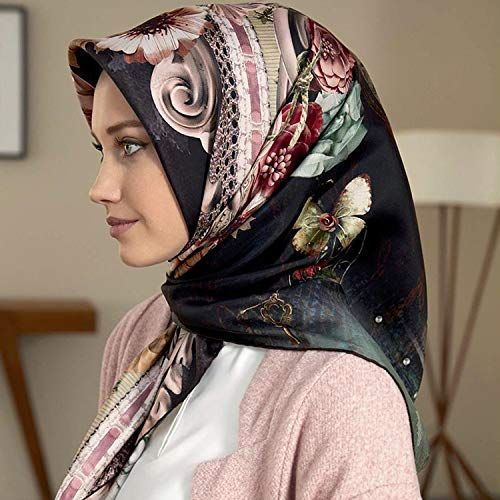 Womens Silk-Satin Scarf Head Hijab Printed Satin Square Shawl Wraps Scarves Lot
