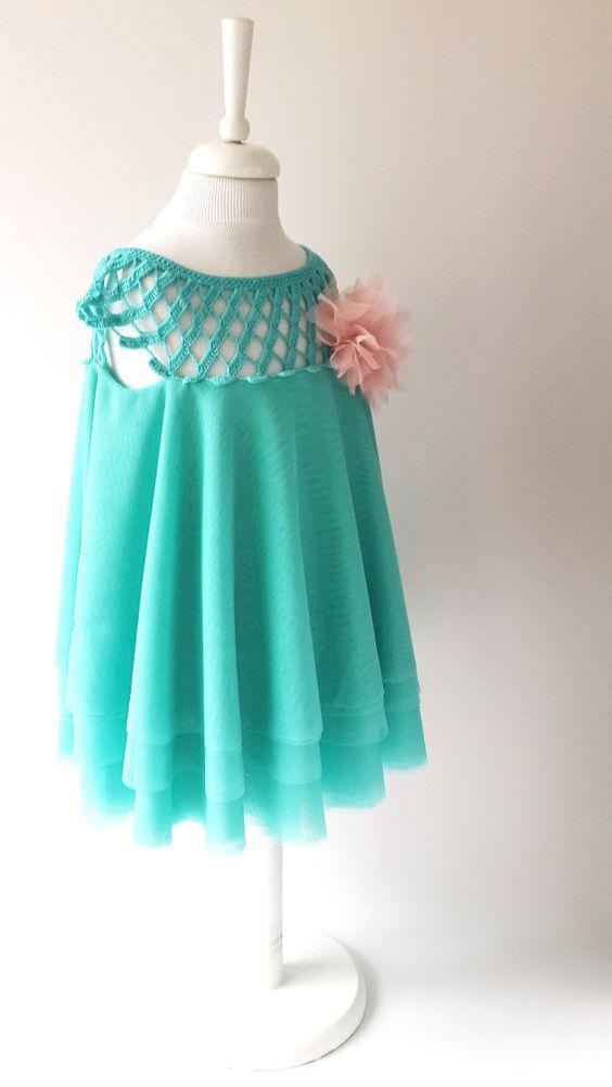 Crochet Round Neckline Tulle Dress .Tulle dress by AylinkaShop: