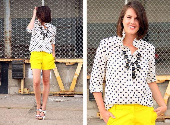 What I Wore: Ignite: Dots Bright, Polka Dots, Yellow Shorts, Dots Bubble, Yellow Wedges, Shorts Shoes, Wore Polkadots, Polka Dot Top