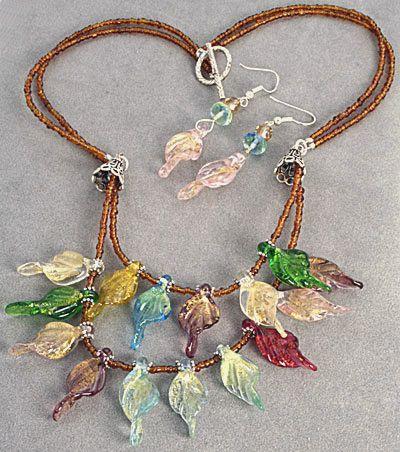 Autumn Leaves - Glass Leaves Necklace & Bonus Earrings create by Sandra Lee $101