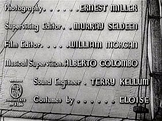 Title sequence. Credits for Ernest Miller, Murray Seldeen, William Morgan, Alberto Colombo, Terry Kellum, Eloise | Affairs of Cappy Ricks (1937)