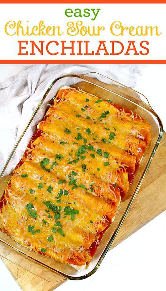 Easy Chicken Sour Cream Enchiladas Your Family Will Love In 2020 Sour Cream Enchiladas Recipes Enchilada Recipes