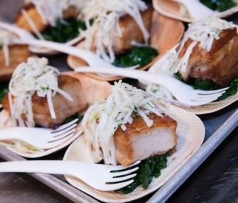 Braised Pork Belly with Kohlrabi Slaw | This recipe from 2015 JBFA Rising Star nominee Tanya Baker features succulent pork belly paired with a tangy and bright kohlrabi slaw. To get extra flavor from the pork-belly cure, toast your spices in a dry pan over low heat for about 5 minutes.