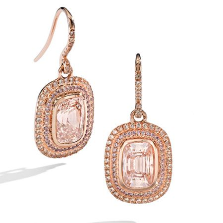 "Mish ""Ava"" earrings have padparadscha sapphires set in 18-kt. rose gold surrounded by two shades of pavé-set, apricot sapphires. $68,000."