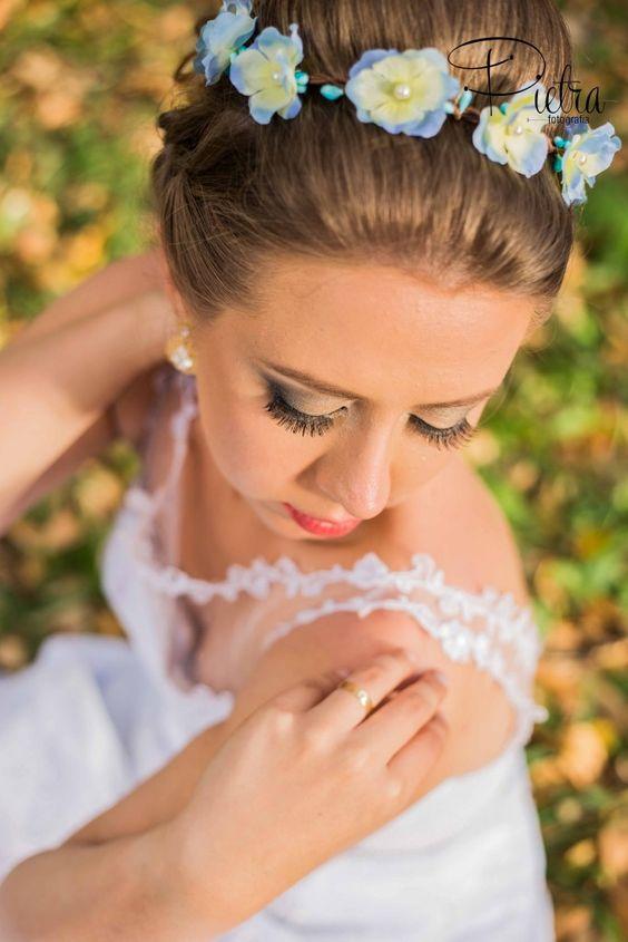 Minha guirlanda (coroa de flores) de Hortênsias; Bridal Garland of hydrangeas, bridal Boho.