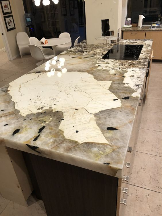Volga Blue Dining Table Project By Mj Stone Granite Tile Marble