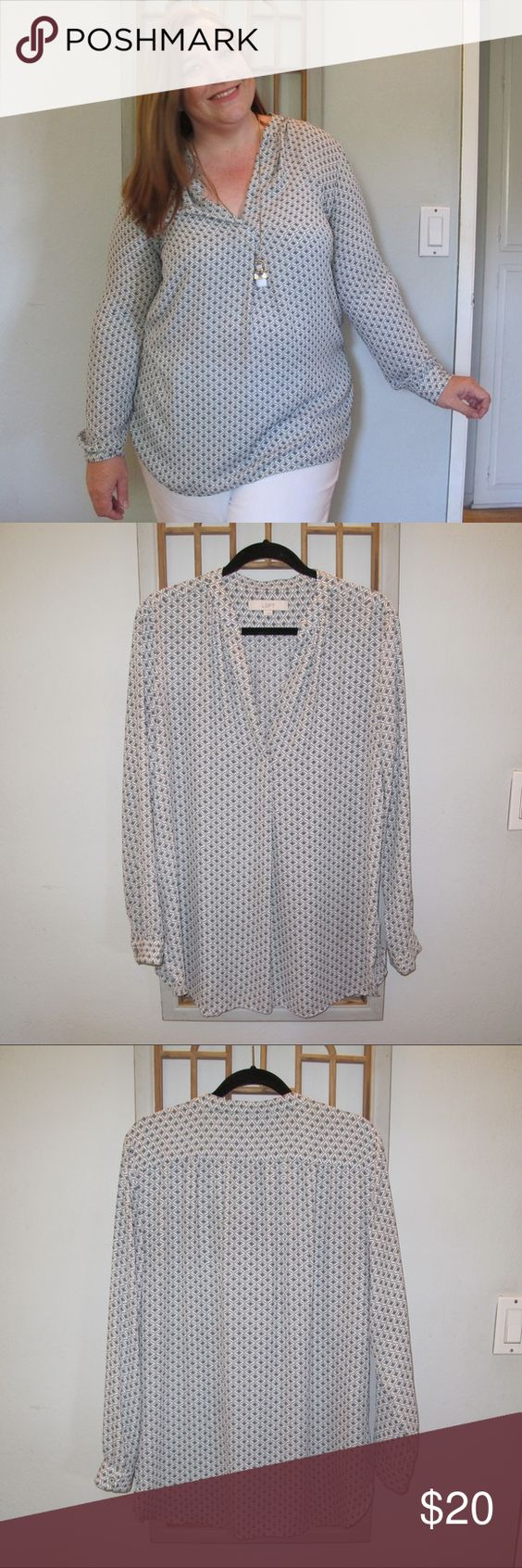 LOFT Blouse LOFT Blouse. White background with blue and black print. Long sleeves. Pull on styling. LOFT Tops
