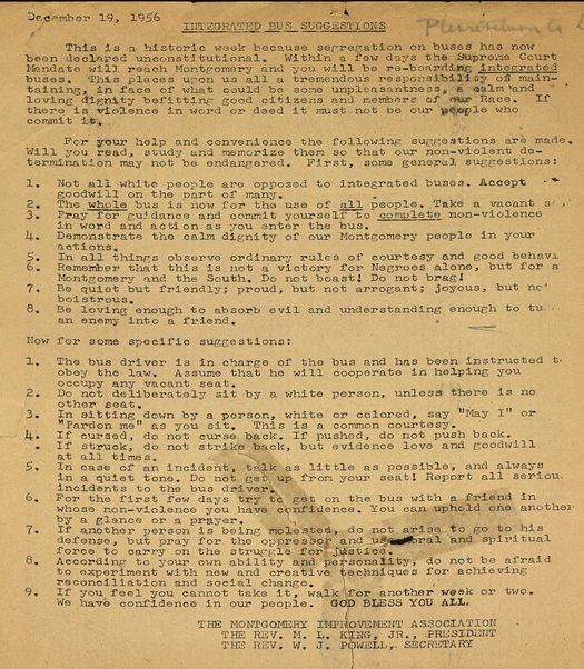 Martin luther king flyer distributed after supreme court for 4 documents of freedom 1956
