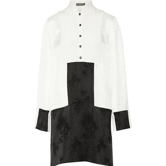 Alexander McQueen Paneled jacquard mini dress (£539) ❤ liked on Polyvore featuring dresses, short loose dresses, white day dress, cream dress, loose dresses and mini dress
