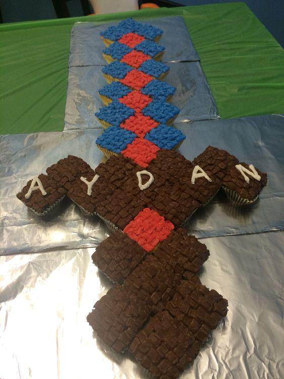 Minecraft Sword Cake, used square cupcakes. | Cake ...