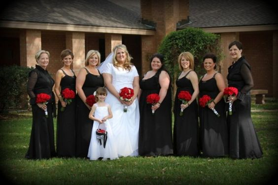 bridal party red bouquets Red Black and White Bridal Party