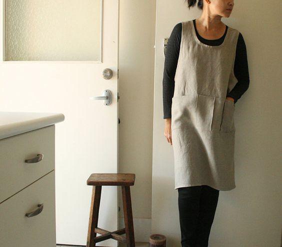 NATURAL LINEN PINAFORE / set of 2 / womens Plus Size linen clothing / criss cross / smock apron / australia / organic / eco / pamelatang