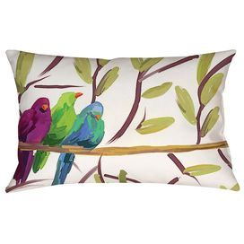 "Indoor/outdoor lumbar pillow with a multicolor bird and branch design.     Product: PillowConstruction Material: Weather proof cover and recycled polyester fillColor: MultiFeatures:  Insert includedDigitally printedUV treated Suitable for indoor and outdoor useDimensions: 12"" x 18"""