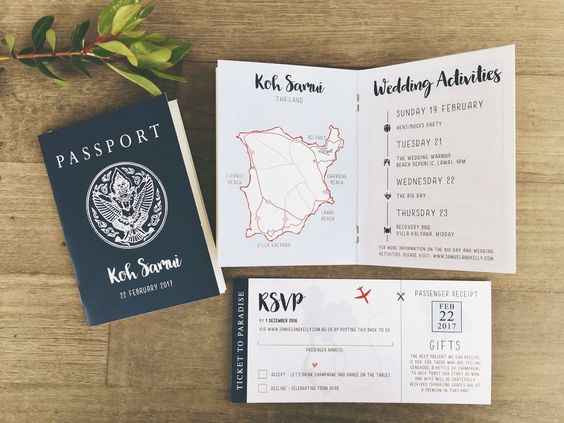 THE PASSPORT - Ink Hearts Paper simple white calligraphy script invitation wedding destination overseas boarding pass plane ticket passport custom ink hearts paper classic modern boho fun different elegant Melbourne Australia designer: