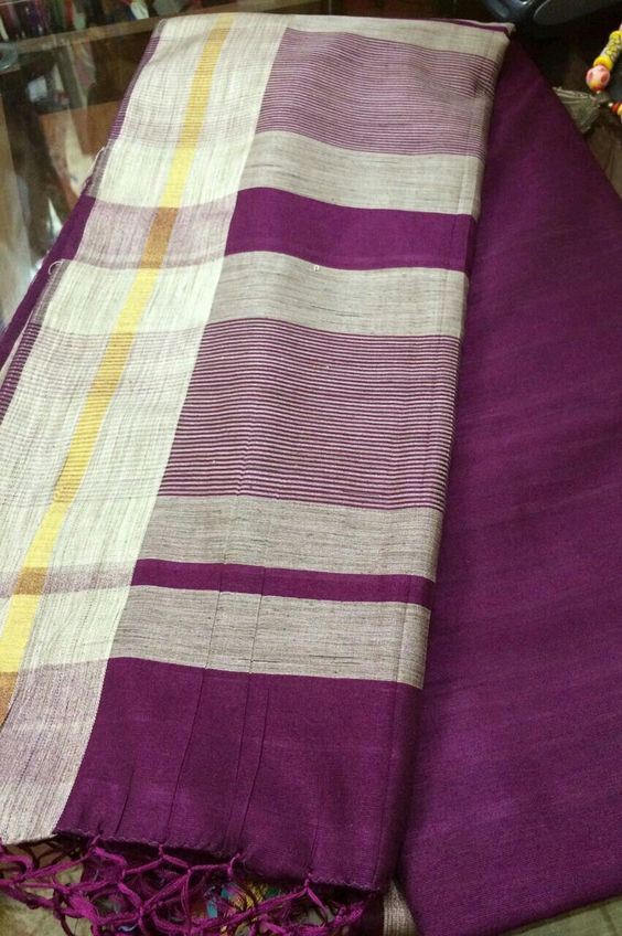 Wine Red Bhagalpur Silk Saree by Rakhee Gandhi available at www.celebratefashions.com