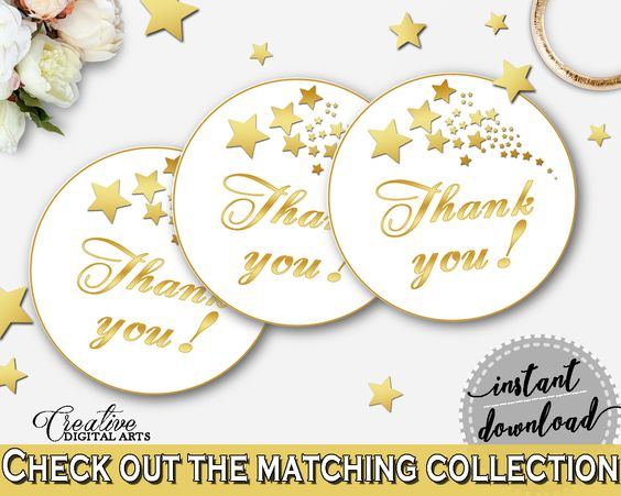 Thank You Tag in Gold Stars Bridal Shower White And Gold Theme, bridal thank you, beautiful shower, party planning, party stuff - 6GQOT #bridalshower #bride-to-be #bridetobe