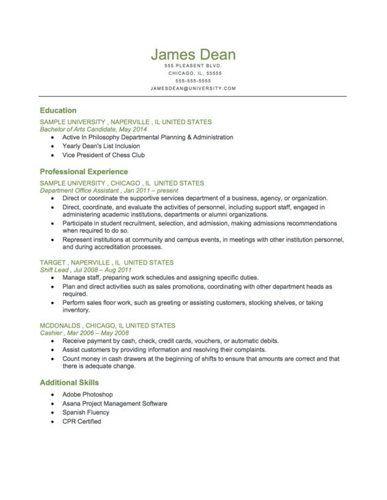 example of a student level reverse chronological  resume more    example of a student level reverse chronological  resume more resources at  http   resumegenius com resume resume formats