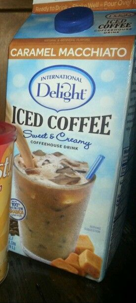 International Delight Iced Coffee,  Caramel Macchiato -  150 calories per 8-oz cup, 2.5g fat, 105mg sodium, 29g carb, 0g fiber, 23g sugars, 4g protein. Made with coffee, skim milk, sugar, corn syrup.  Contains sweet whey, gellan gum, natural & artificial flavors, carrageenan, sodium citrate.  Made in USA.  This iced coffee has milk & caffeine in it.  Delicious, but I need to find a lower-calorie alternative that isn't sweetened with a bunch of chemicals I can't pronounce!!  I've been mixing…