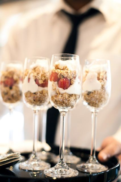 parfait in champagne glasses- perfect for the morning of the wedding, or brunch the morning after