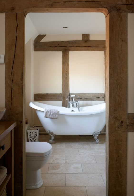 Oak framed roll top bath